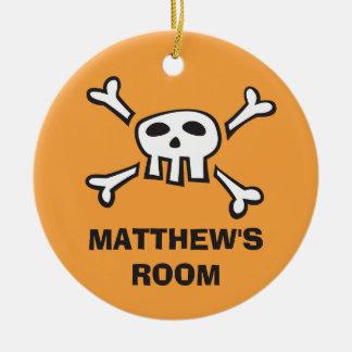 Orange door hanger ornament with pirate scull