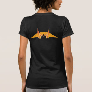 Orange Double Paper Cranes Origami Good Luck Logo Tshirts