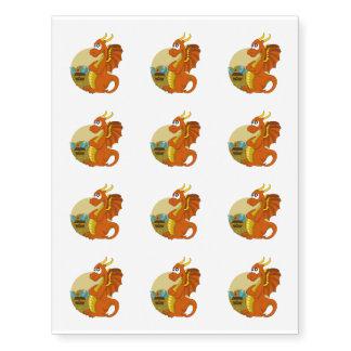 Orange dragon cartoon temporary tattoos