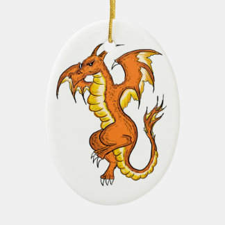 Orange dragon drawing oval ornament