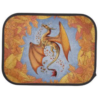 Orange Dragon of Autumn Fantasy Art Car Mat