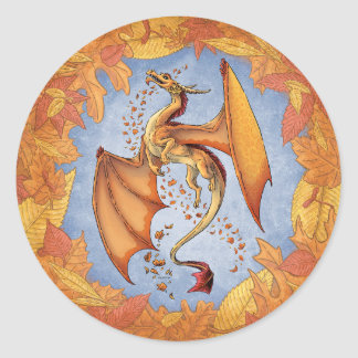 Orange Dragon of Autumn Nature Fantasy Art Classic Round Sticker