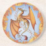 Orange Dragon of Autumn Nature Fantasy Art Drink Coaster