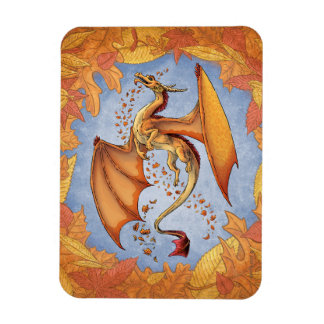 Orange Dragon of Autumn Nature Fantasy Art Magnet