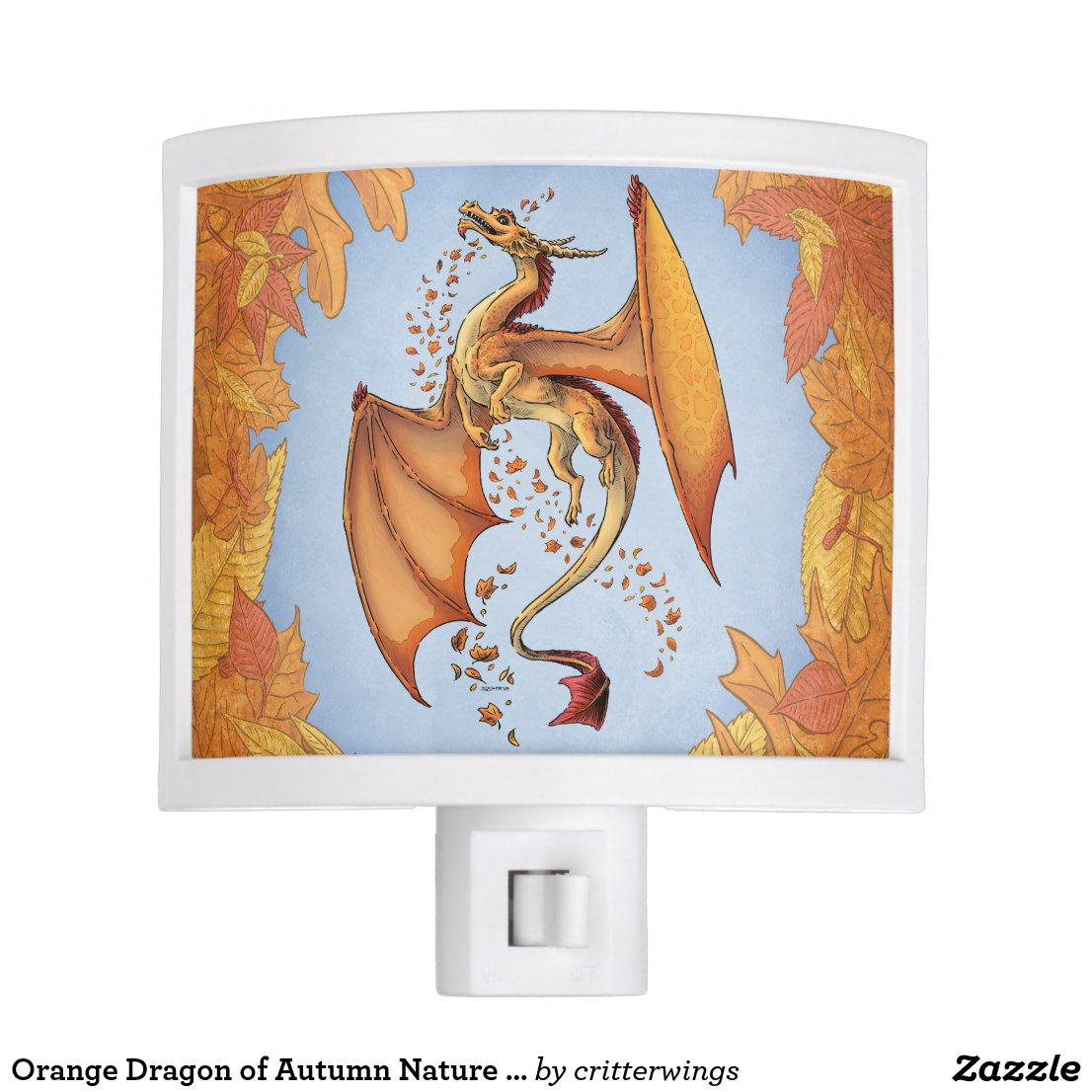 Orange Dragon of Autumn Nature Fantasy Art Night Light