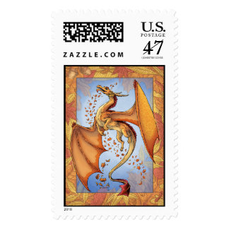 Orange Dragon of Autumn Nature Fantasy Art Postage