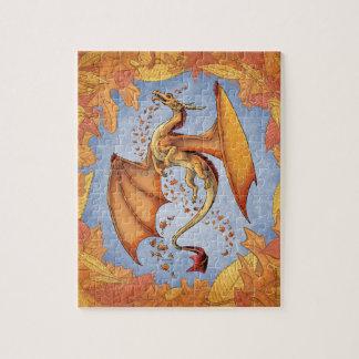 Orange Dragon of Autumn Nature Fantasy Art Jigsaw Puzzles