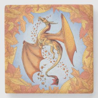 Orange Dragon of Autumn Nature Fantasy Art Stone Coaster