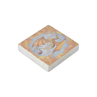 Orange Dragon of Autumn Nature Fantasy Art Stone Magnet