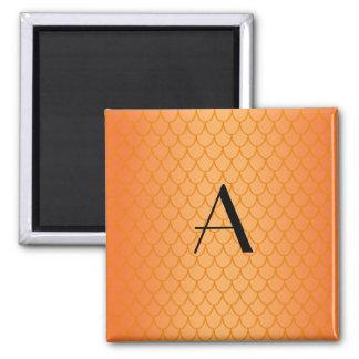 Orange dragon scales monogram 2 inch square magnet