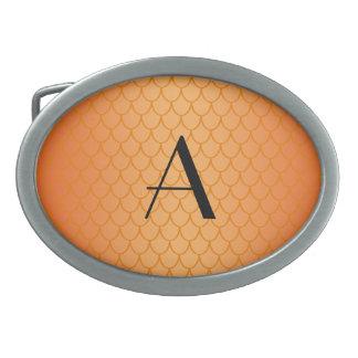Orange dragon scales monogram oval belt buckle