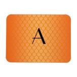 Orange dragon scales monogram flexible magnet