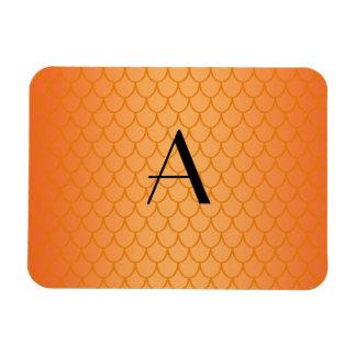 Orange dragon scales monogram rectangular photo magnet