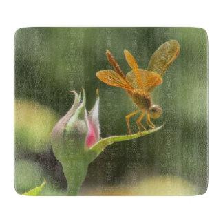 Orange Dragonfly on Pink Rosebud Cutting Boards