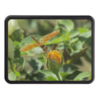 Orange Dragonfly on Yellow Rosebud Tow Hitch Cover