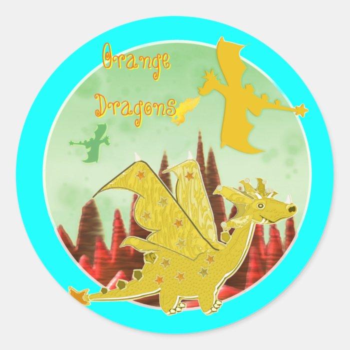 Orange Dragons Classic Round Sticker