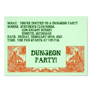ORANGE DRAGONS IN THE DUNGEONS ~ PARTY INVITATION! CARD