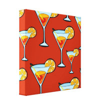 Orange Drink Pattern with Red Background Canvas Print