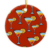 Orange Drink Pattern with Red Background Ceramic Ornament