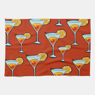 Orange Drink Pattern with Red Background Hand Towel