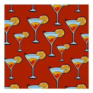 Orange Drink Pattern with Red Background Poster