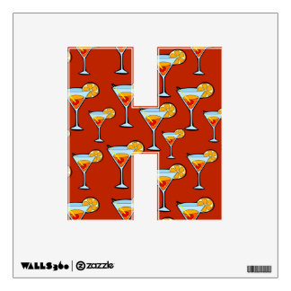 Orange Drink Pattern with Red Background Wall Sticker