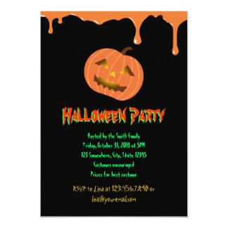 Orange Drips Pumpkin Halloween Party Invitation