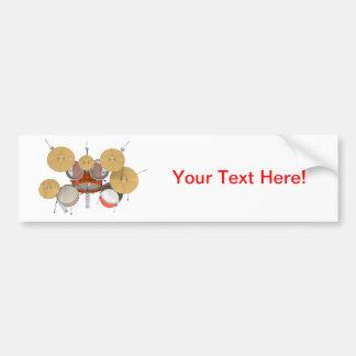 Orange Drum Kit: Car Bumper Sticker