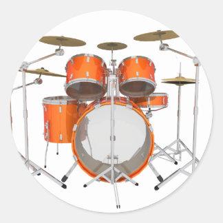 Orange Drum Kit: Classic Round Sticker