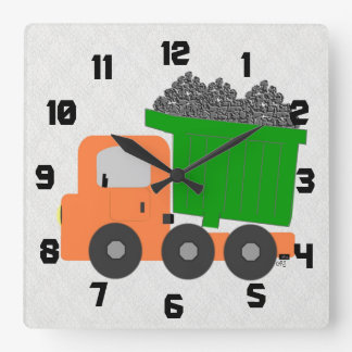 Orange Dump Truck Square Wallclocks
