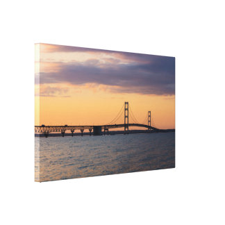 Orange Dusk Mackinac Bridge Canvas Print