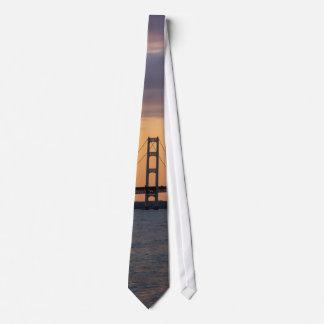 Orange Dusk Mackinac Bridge Tie