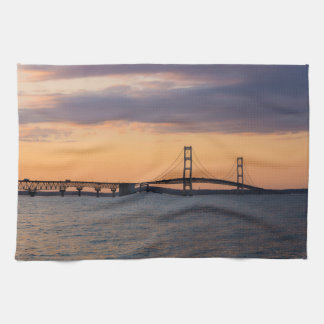 Orange Dusk Mackinac Bridge Towel