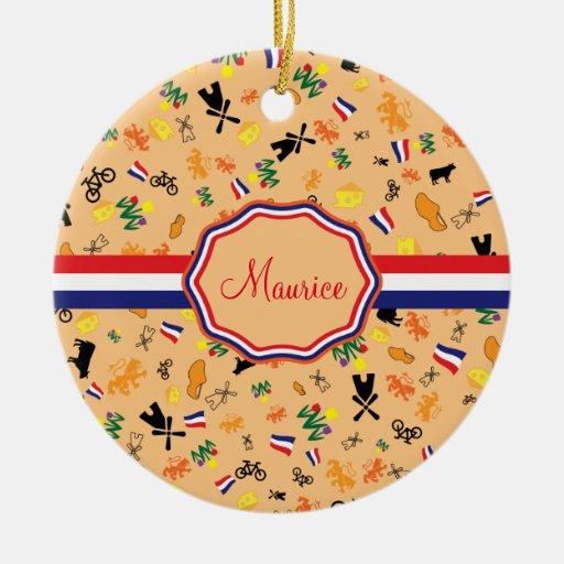 Orange Dutch Pattern With Flag Of Holland Ceramic Ornament