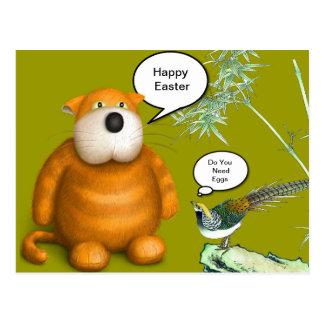 Orange Easter Fat Cat Postcard