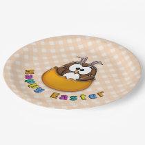 orange Easter owl - paper plates