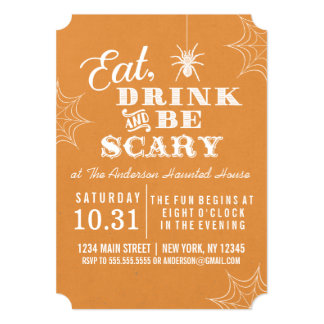 Orange Eat Drink and Be Scary Halloween Party Card