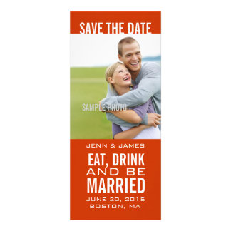 Orange EAT DRINK BE MARRIED Modern Save the Date Personalized Invites
