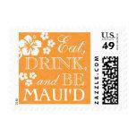 Orange Eat, Drink Be Maui'd Hawaii Wedding Stamps