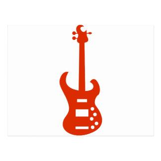 Orange Electric Guitar Musical Instrument Icon Postcard