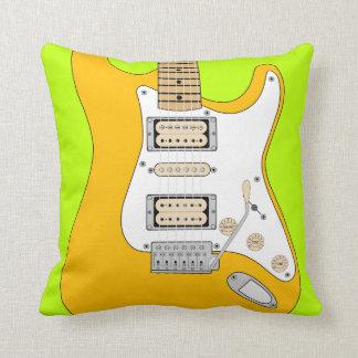 Orange Electric Guitar Throw Pillow