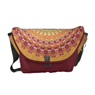 Orange Elegance Mandala Kaleidoscope Courier Bag