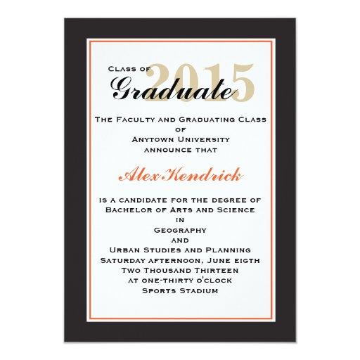 Orange Elegant Graduation Announcement