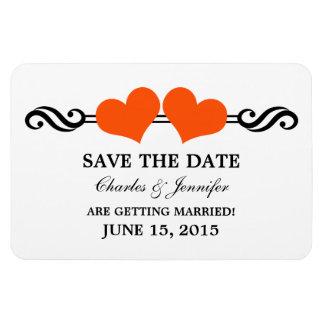 Orange Elegant Hearts Save the Date Magnet