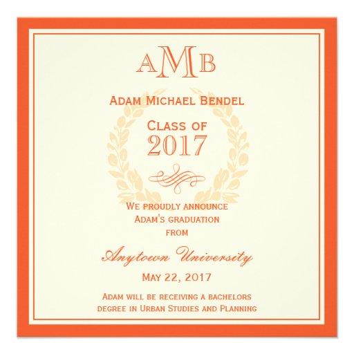 Orange Elegant Monogram Graduation Announcement (front side)