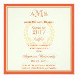 Orange Elegant Monogram Graduation Announcement