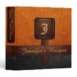 Orange Elegant Recipe Leather Look Binder