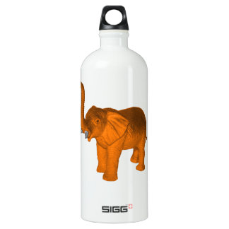 Orange Elephant Aluminum Water Bottle