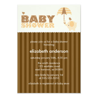 Orange Elephant Baby Shower Card