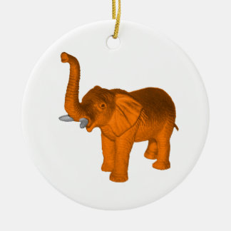 Orange Elephant Ceramic Ornament